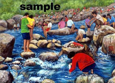 Kids Painting - Playing In The Stream by Komi Chen