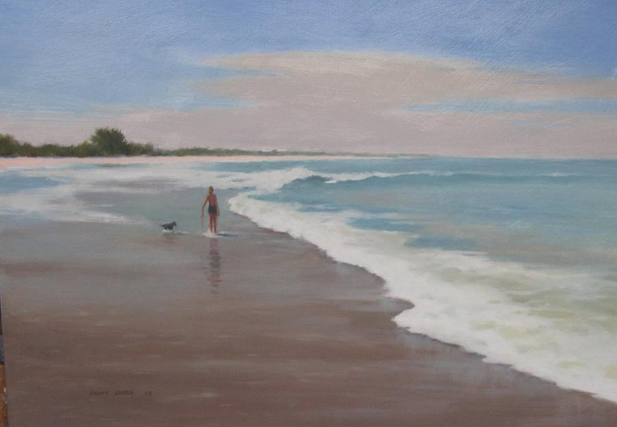 Seascape Painting - Playing In The Surf by Frank Sadera