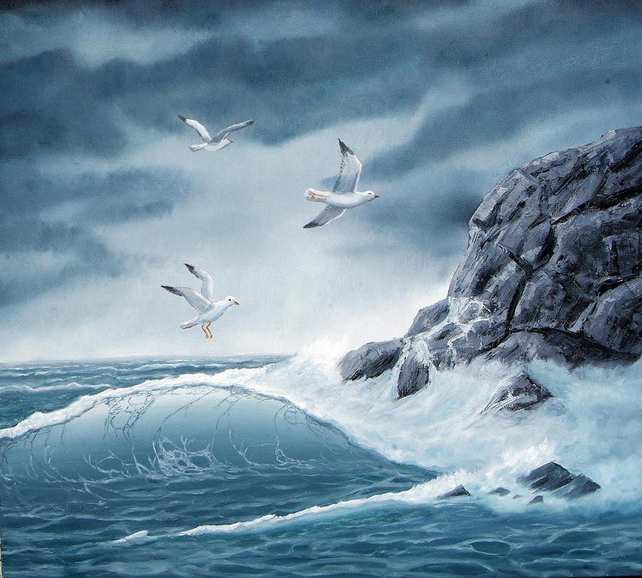 Oceans Painting - Playing In The Tempest by Lorraine Foster