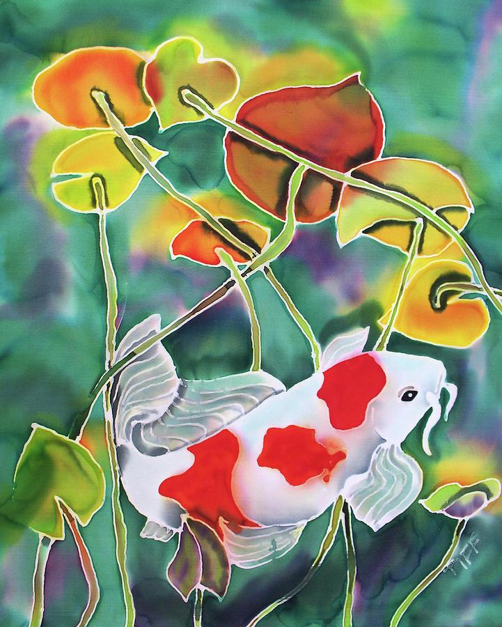 Koi Fish Painting - Playing Koi by Tiff