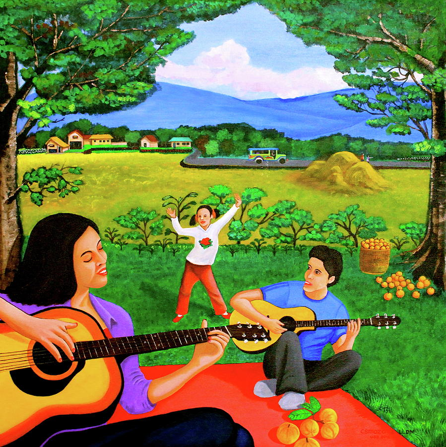 Playing Melodies Under The Shade Of Trees Painting