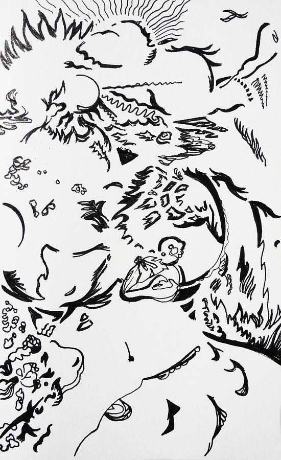 Pen Drawing - Playing Under The Sun by Joseph Demaree