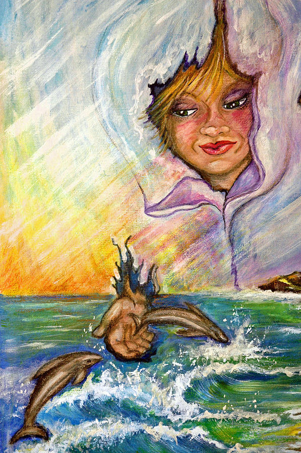 Playing with the Dolphins Painting by Mickie Boothroyd