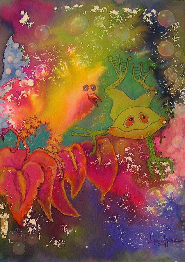 Frog Painting - Playmates 1 by Valerie Aune