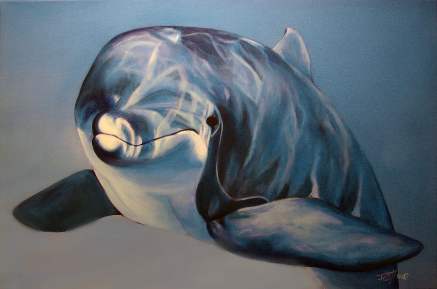 Dolphin Painting - Playtime by Rusty W Hinshaw