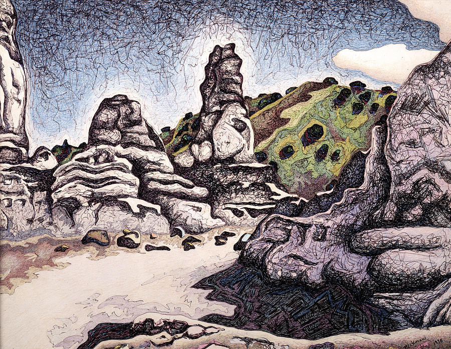 Badlands Mixed Media - Plaza Blanca Spire by Dale Beckman