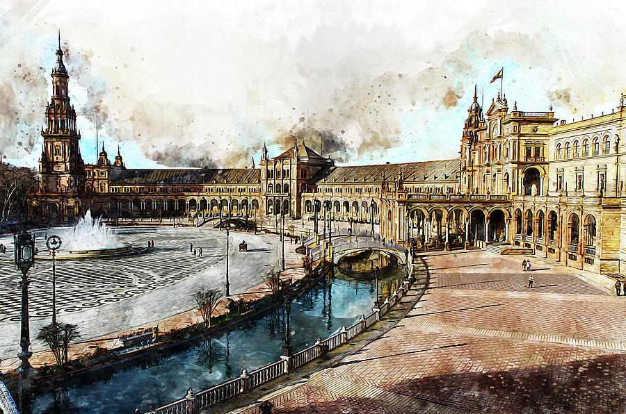 Plaza De Espana, Seville - 13 Painting