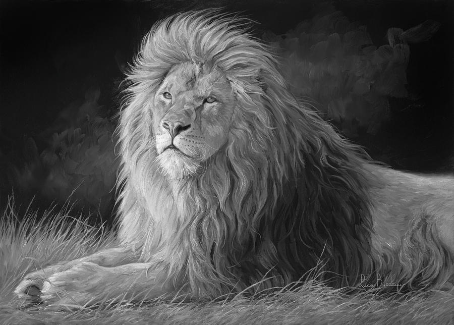 Lion Painting - Pleasant Breeze - Black And White by Lucie Bilodeau