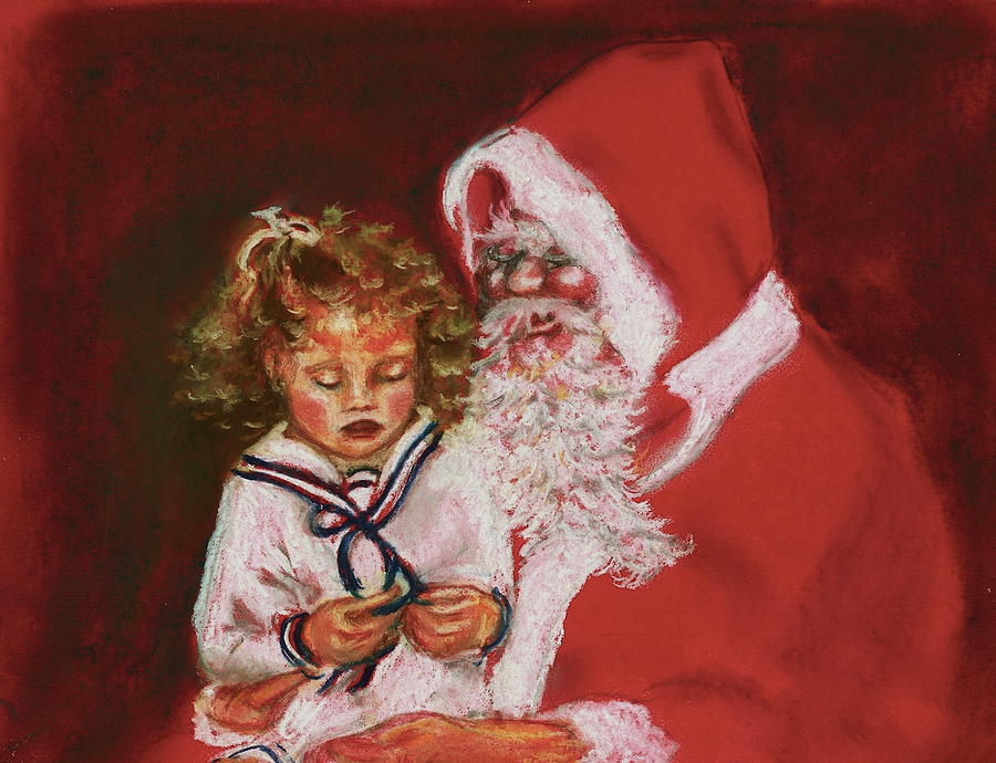 Christmas Painting - Please Mr Santa by Yvonne Ayoub