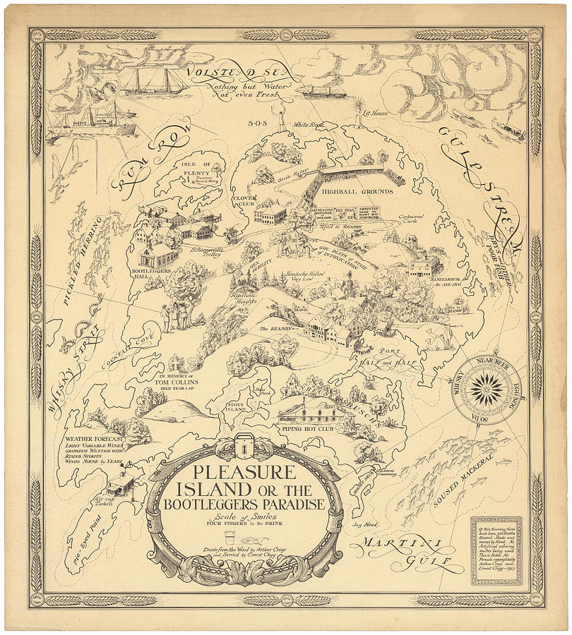 Pleasure Island Or The Bootleggers Paradise - Map Of Alcoholic Drinks - Brewers Map, 1925 Drawing