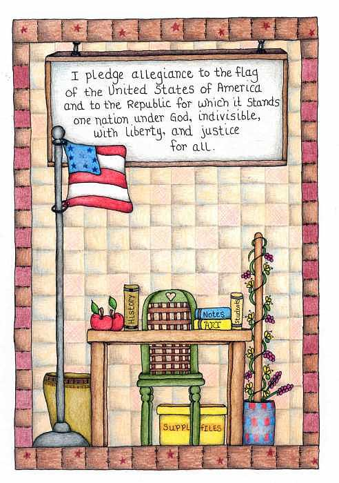Pledge Of Allegiance Drawing - Pledge by Darla Stanton