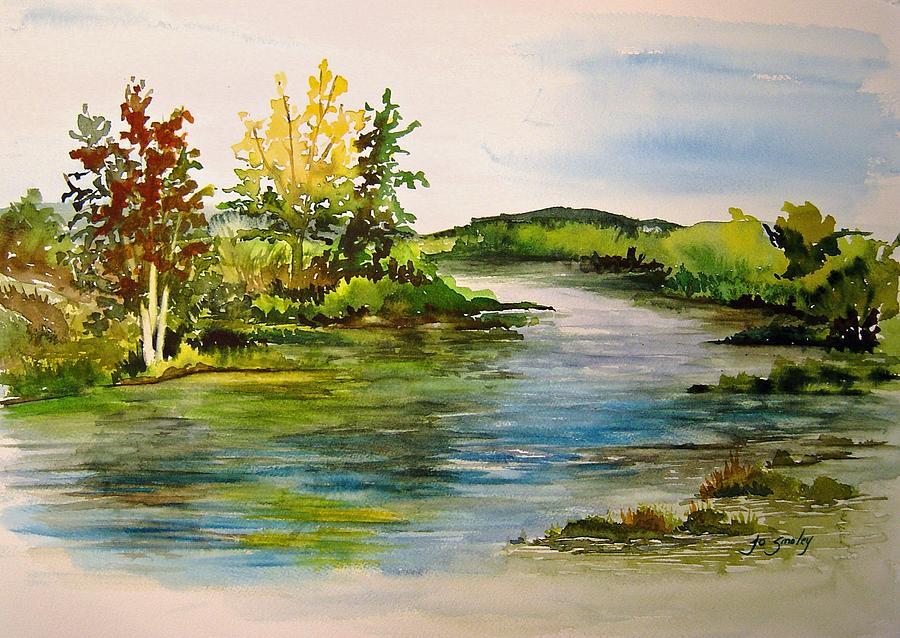Water Painting - Plein Air At Grand Beach Lagoon by Joanne Smoley