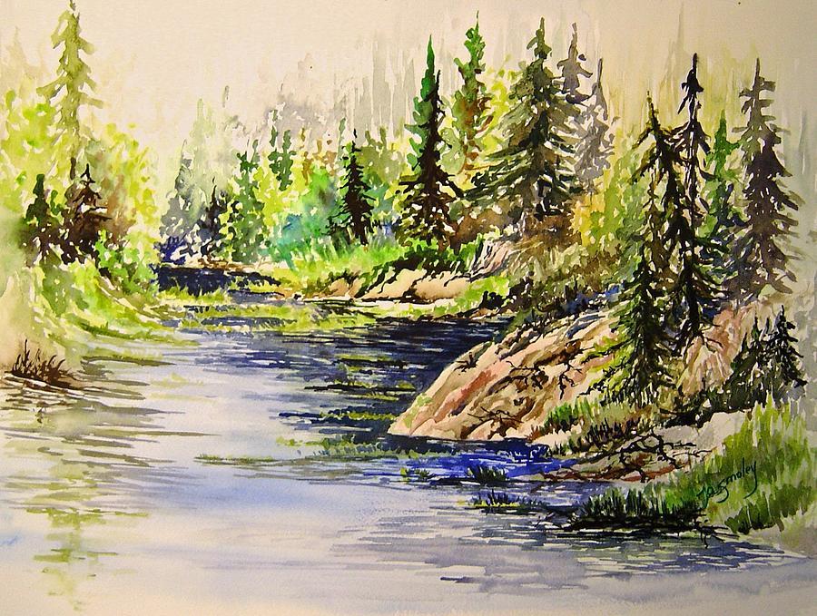 Water Painting - Plein Air At Nutimik Lake In Manitoba by Joanne Smoley