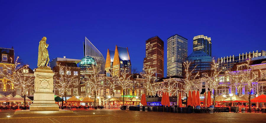 The Hague Photograph - Plein at Blue Hour - the Hague by Barry O Carroll