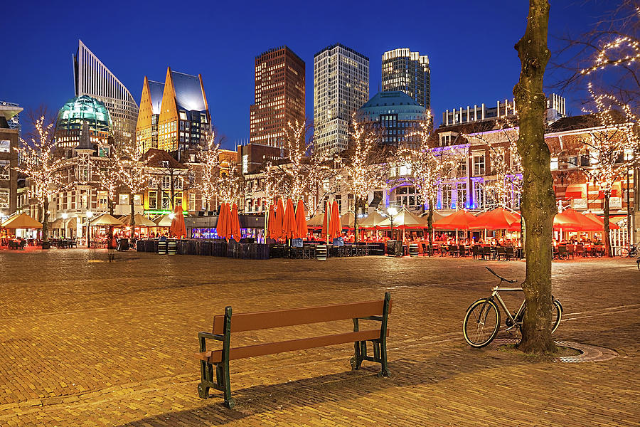 The Hague Photograph - Plein Square at Night - The Hague by Barry O Carroll