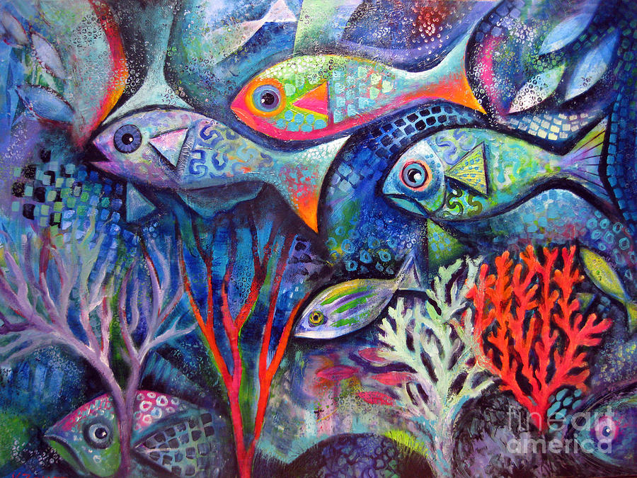 Plenty of fish in the sea painting by karin zeller for Plenty of fish usa