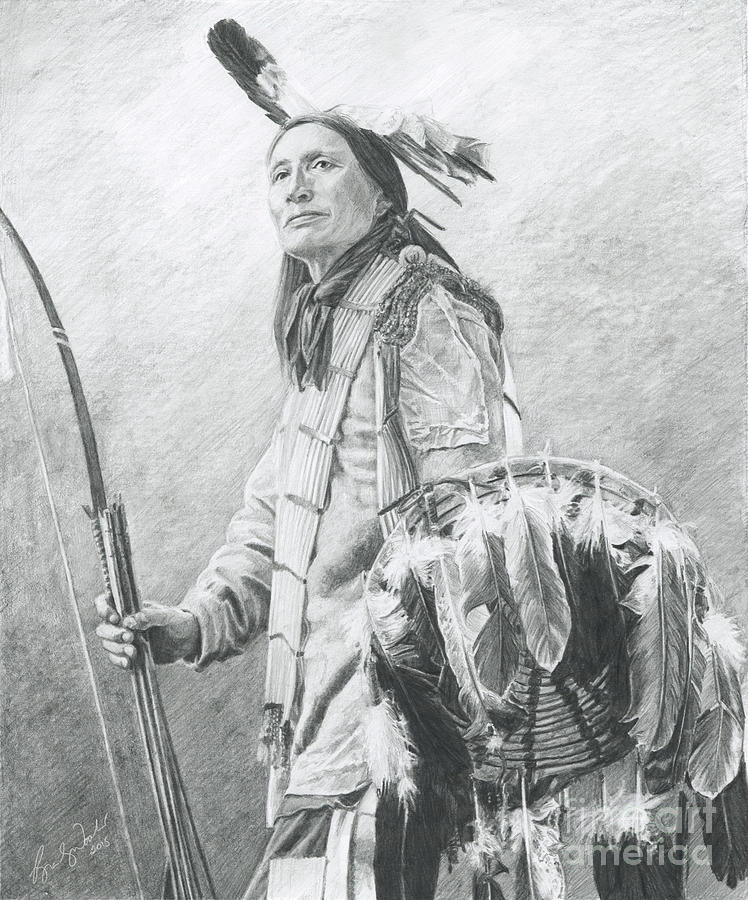 Native American Drawing - Taopi Ota - Lakota Sioux by Brandy Woods