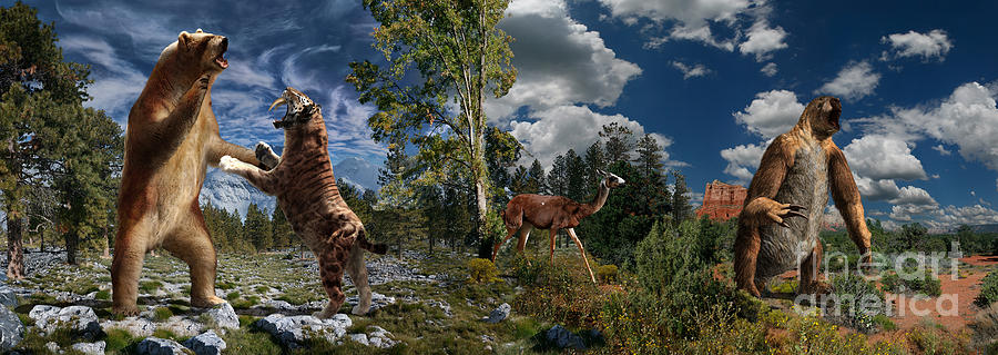 Paleoart Digital Art - Pliocene - Pleistocene mural 2 by Julius Csotonyi
