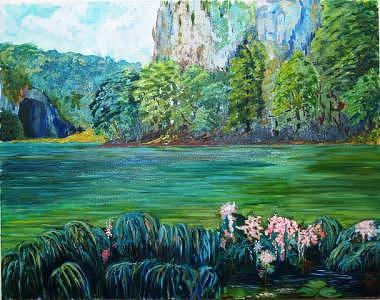 Croatia Landscape Painting - Plitvitsa Green Day by Jenia Tyshchenko
