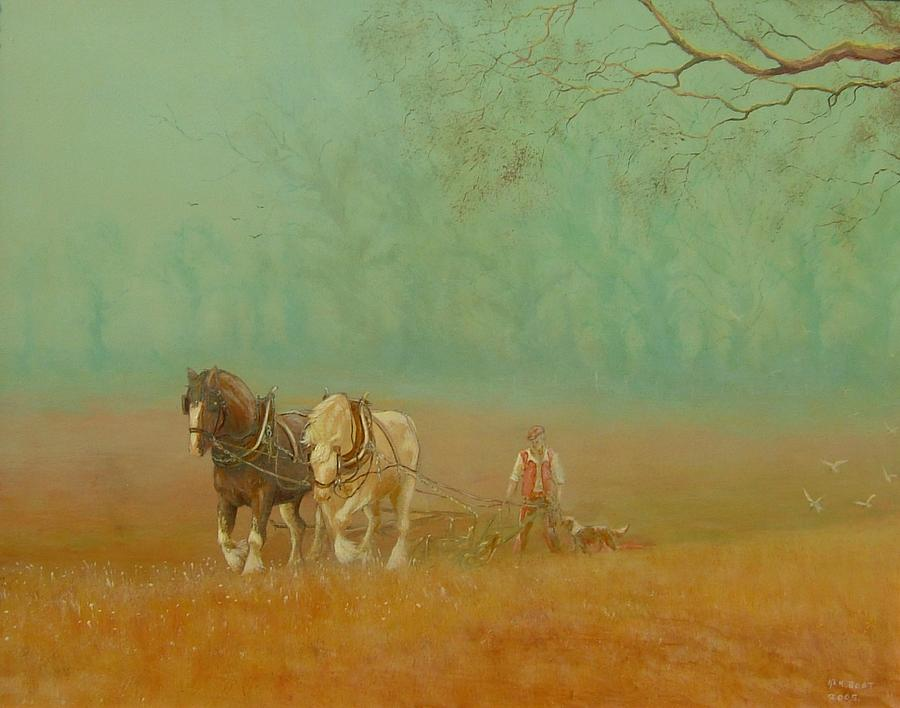 Horses Painting - Ploughman2 by Ken Boot