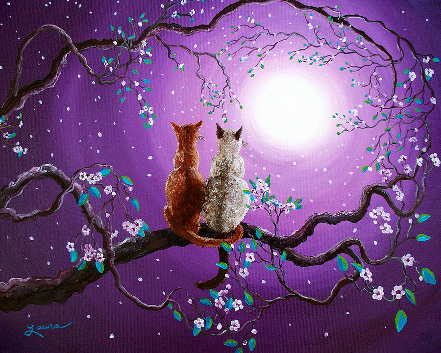Zen Painting - Plum Blossoms In Pale Moonlight by Laura Iverson