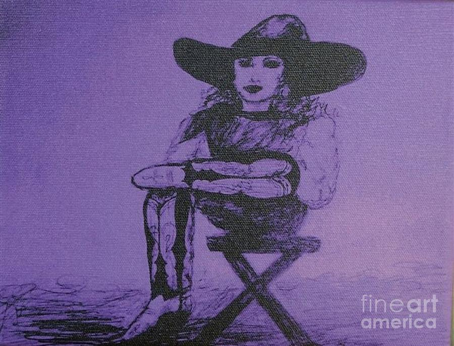 Cowgirl Drawing - Plum Cowgirl by Susan Gahr