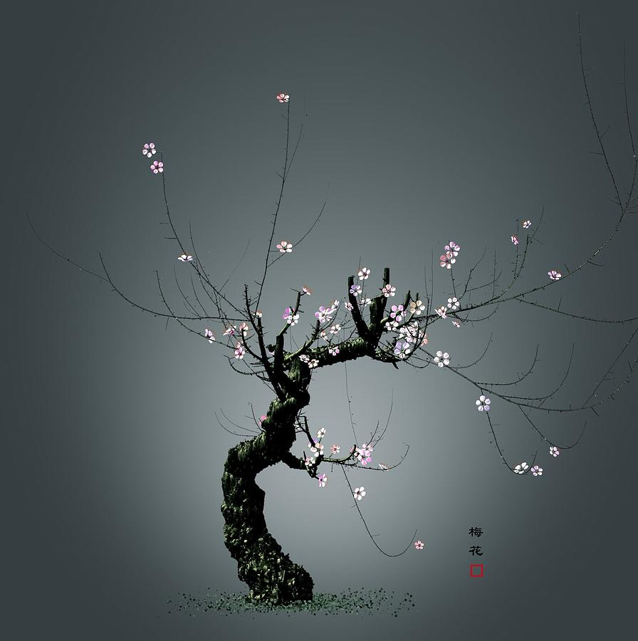 Plum Flower Digital Art - Plum Flower 0204 by GuoJun Pan