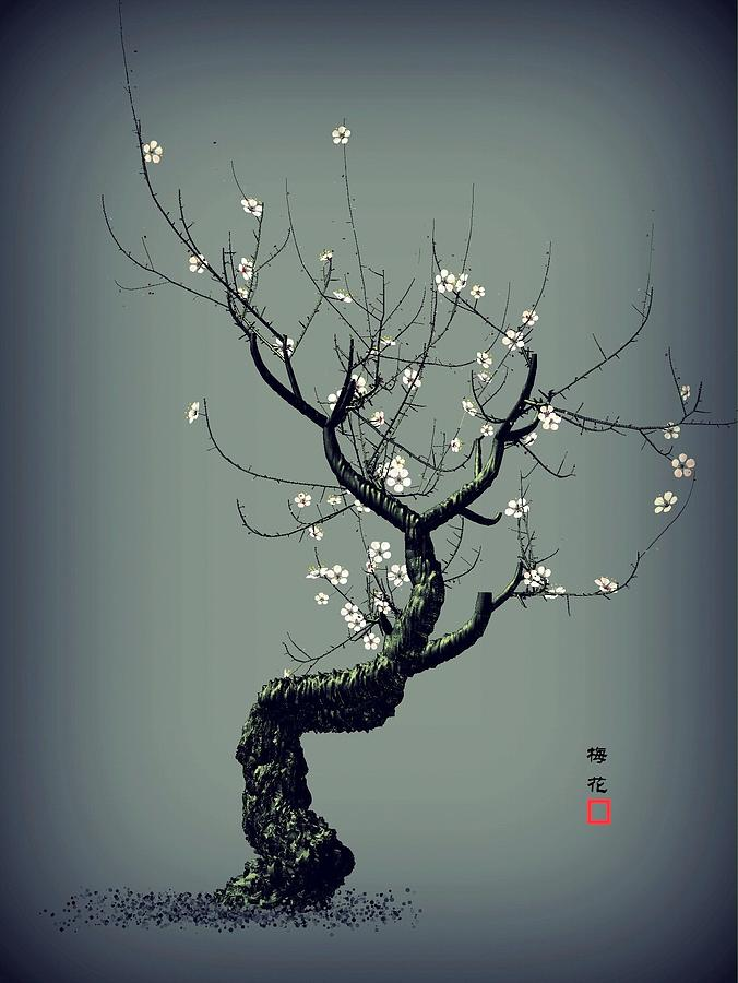 Plum Flower Digital Art - Plum Flower by GuoJun Pan