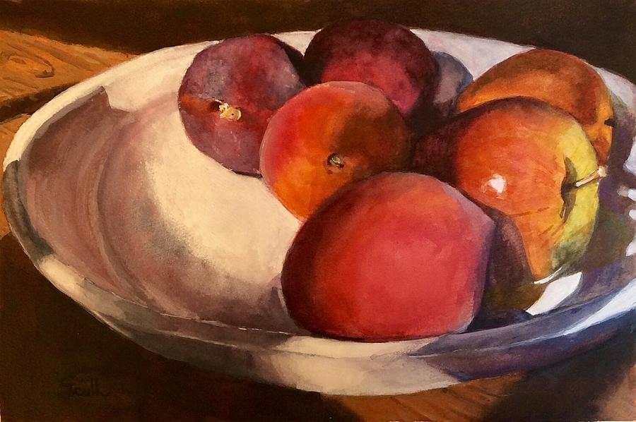 Plum, Peaches, and Apples by Judith Scull