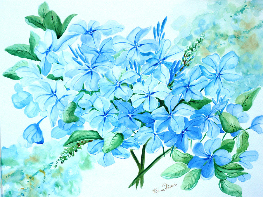 Plumbago Painting by Karin  Dawn Kelshall- Best