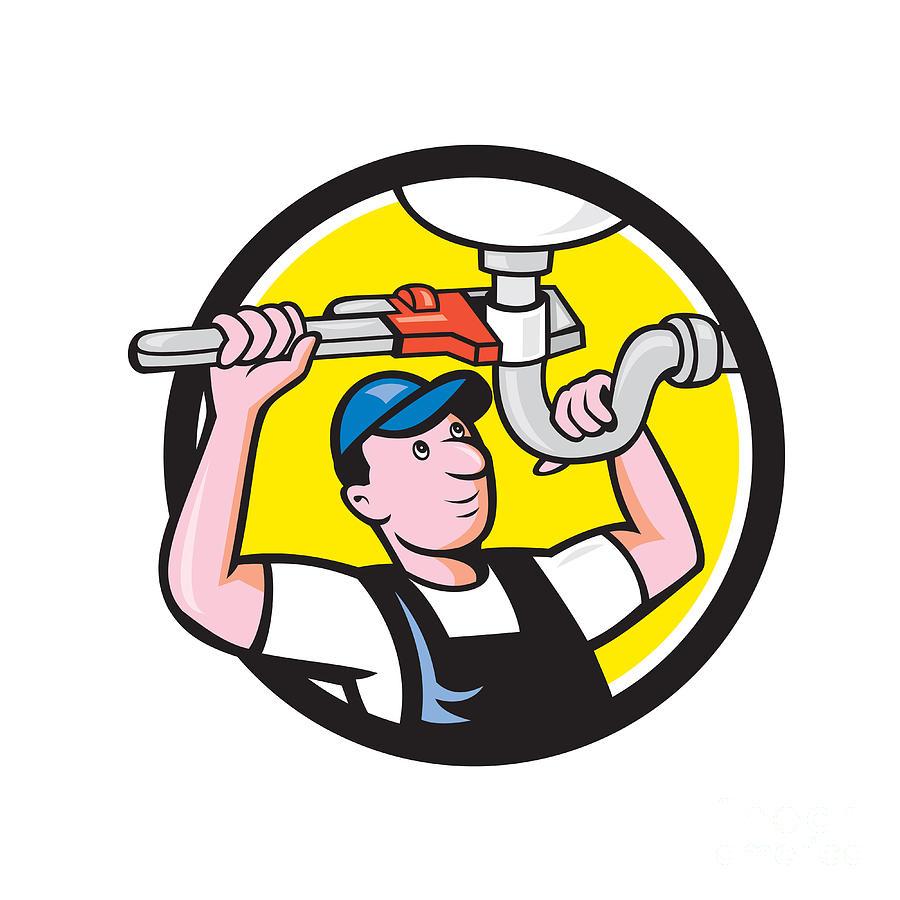 Plumber Repair Sink Pipe Wrench Circle Cartoon Digital Art By Aloysius Patrimonio