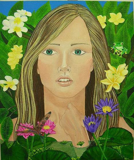 Water Nymph Painting - Plumeria by Karen Greaves