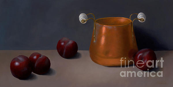 Still Life Painting - Plums With Cooper Pot by Christa Eppinghaus