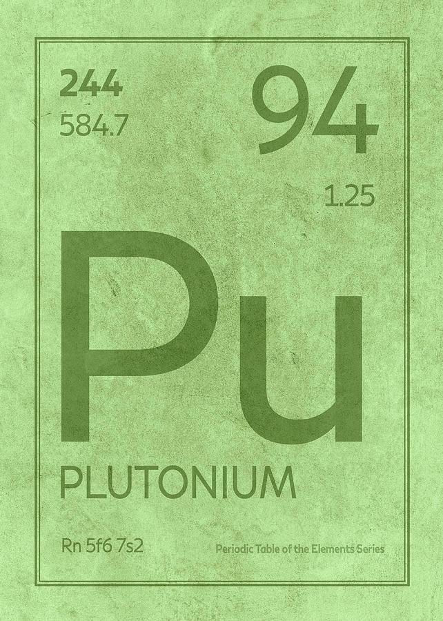 Plutonium Element Symbol Periodic Table Series 094 Mixed Media By