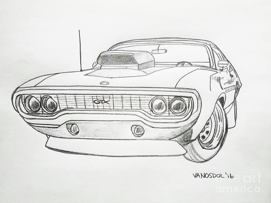 Plymouth Gtx American Muscle Car Original Digital Art By Scott D