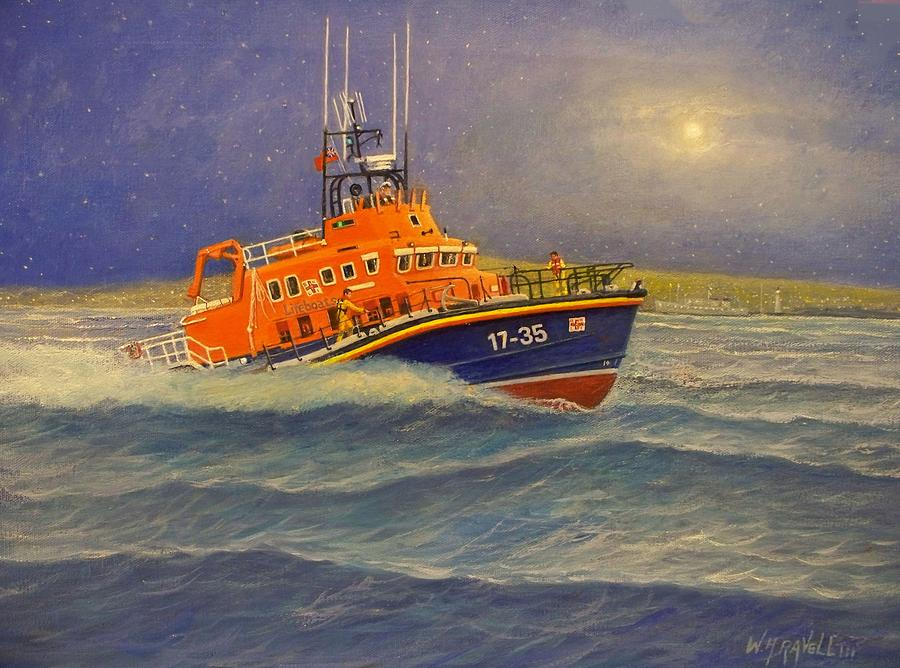 Lifeboat Painting - Plymouth Lifeboat by William Ravell