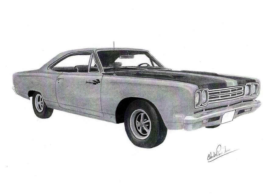 Car Drawings Drawing - Plymouth Road Runner 1969 by Claude Prud homme