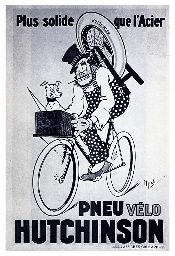 Vintage Mixed Media - Pneu Velo Hutchinson - Vintage Tyre Advertising Poster by Studio Grafiikka
