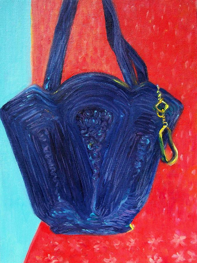 Pocketbook Painting - Pocketbook And Red Scarf by Laura McMillan