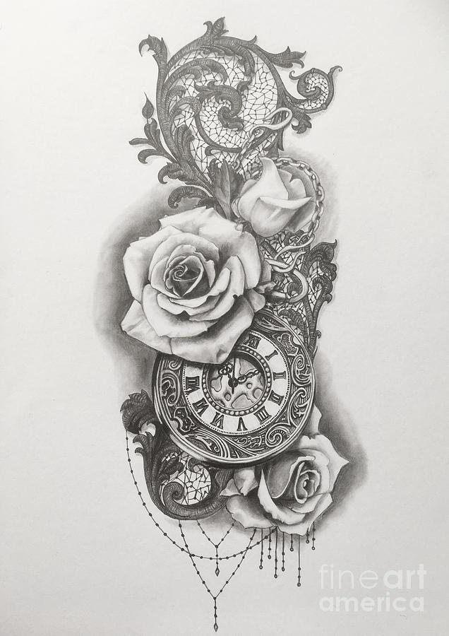 Pocketwatch And Roses Drawing By Emma Ridley