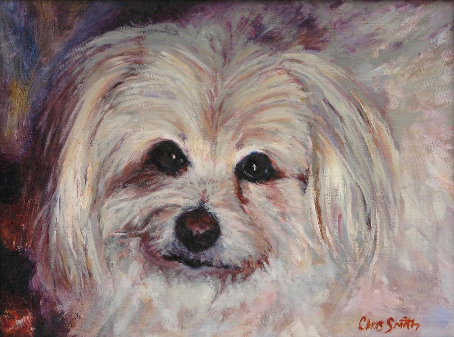 Pet Portraits Painting - Poco short for Pocahontas by Chris Neil Smith