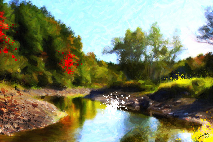 Digital Painting Painting - Poconos Landscape by Chamira Young
