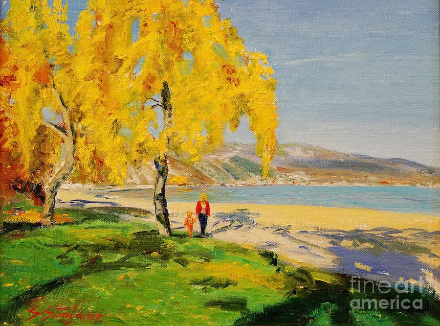 Landscape Painting - Pogradeci by Sefedin Stafa