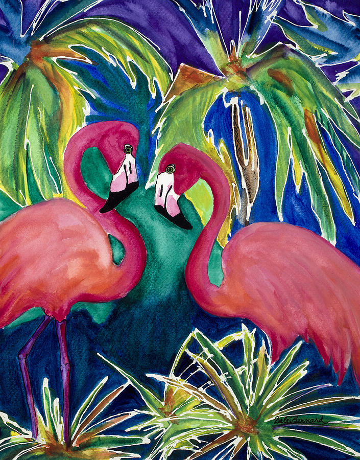 Flamingos Painting - Poin And Settia Dine At The Palm by Dale Bernard