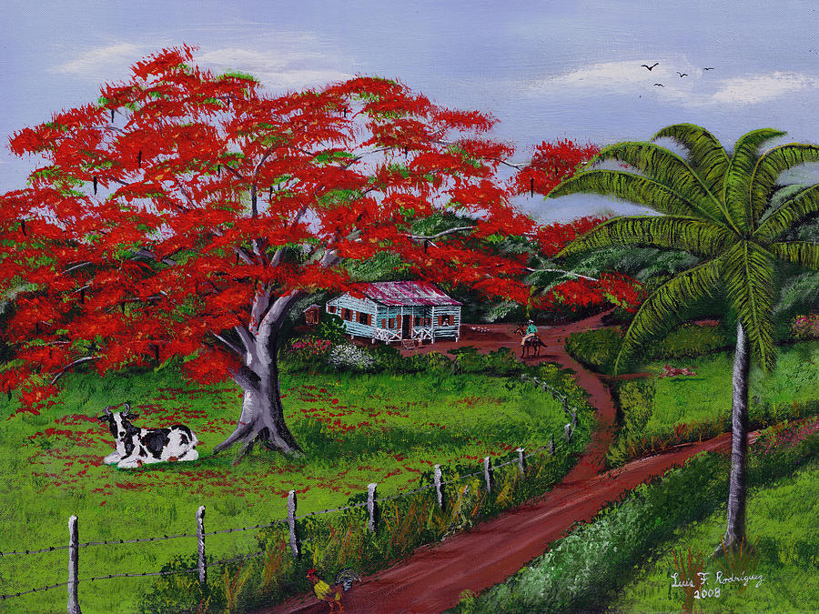 Flamboyant Tree Painting - Poinciana Blvd by Luis F Rodriguez