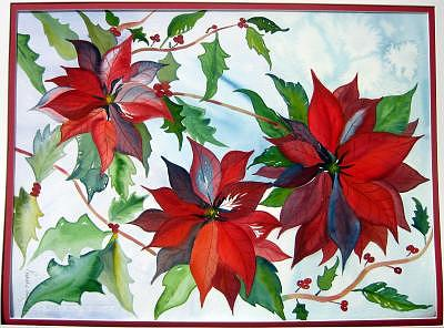 Poinsettias Painting - Poinsettas by Pratibha Garewal