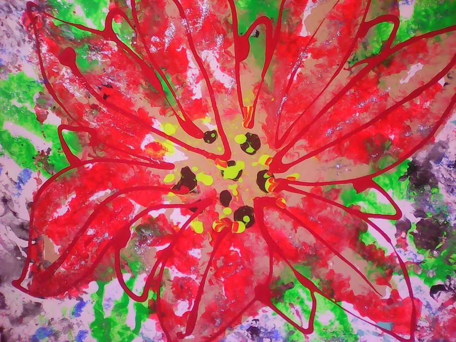 Poinsettia For Christmas Painting by Marcela Hessari