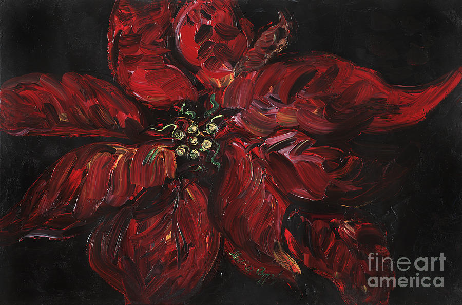Abstract Painting - Poinsettia by Nadine Rippelmeyer