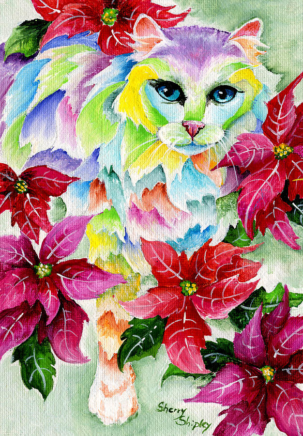 Cat Painting - Poinsettia Sweetheart by Sherry Shipley