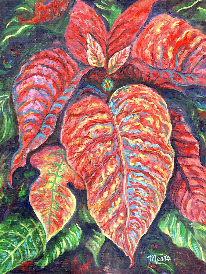 Christmas Painting - Poinsettia Two by Linda Mears